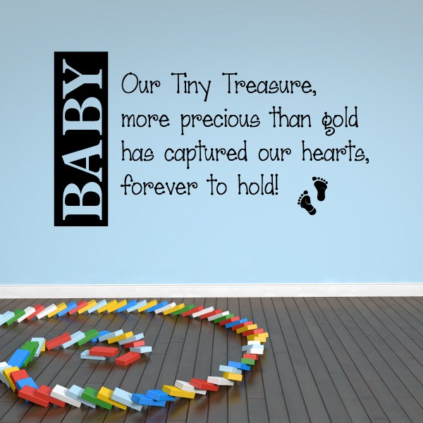 Baby Our Tiny Treasure More Precious Than Gold Has Captured Our Hearts Vinyl Wall Decal