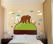 BEAR WITH BIRDS AND CLOUD WALL DECAL KIT - NURSERY ROOM DECOR - WALL FABRIC - VINYL DECAL - REMOVABLE AND REUSABLE