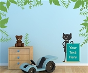 CAT HOLDING SIGN WITH LEAFS WALL DECAL KIT - NURSERY ROOM DECOR - WALL FABRIC - VINYL DECAL - REMOVABLE AND REUSABLE