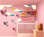BIRDS CLOUDS AND SUN WALL DECAL KIT - NURSERY ROOM DECOR - WALL FABRIC - VINYL DECAL - REMOVABLE AND REUSABLE