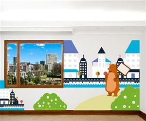BEAR WITH HOUSE AND HILL WALL DECAL KIT - NURSERY ROOM DECOR - WALL FABRIC - VINYL DECAL - REMOVABLE AND REUSABLE