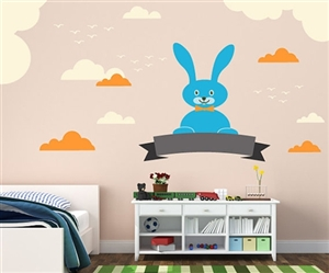 BUNNY WITH CLOUDS WALL DECAL KIT - NURSERY ROOM DECOR - WALL FABRIC - VINYL DECAL - REMOVABLE AND REUSABLE