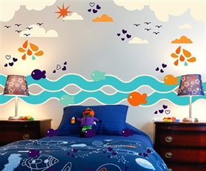 FISH BIRDS WAVES CLOUD WALL DECAL KIT - NURSERY ROOM DECOR - WALL FABRIC - VINYL DECAL - REMOVABLE AND REUSABLE
