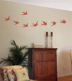Flying Swallows wall decal stickers