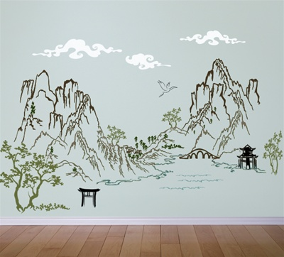 Chinese Asian Ink Landscape Scene Wall Decal Sticker