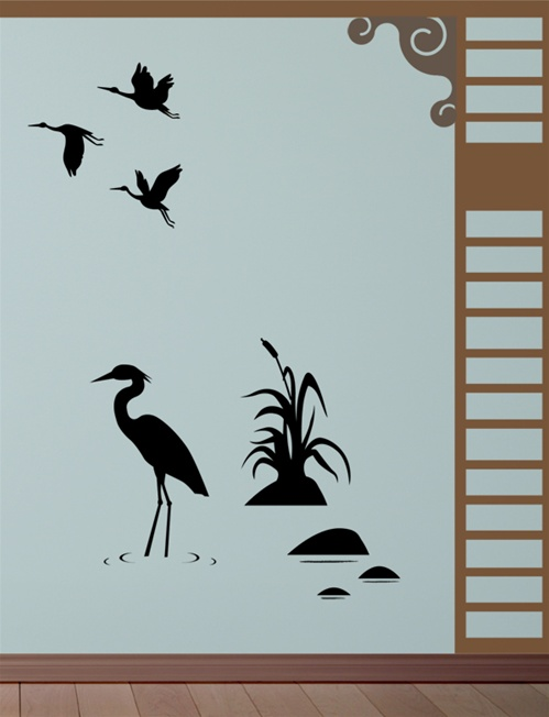 Crane In The Reeds Wall Decals Stickers