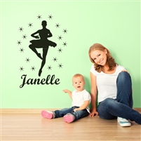 Custom Personalized Name and Dance Wall Decal Sticker - DanceCust004