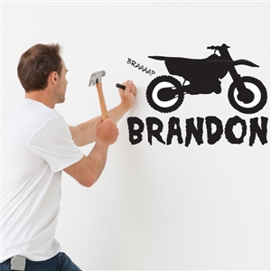 Custom Personalized Name and Dirt Bike Wall Decal Sticker - DirtBikeCust01