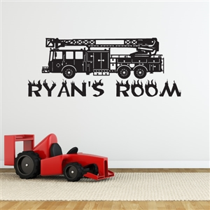 Custom Personalized Name and Firetruck Wall Decal Sticker - FiretruckCust001