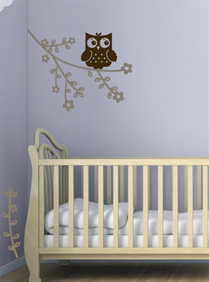 Hoot Owl with Branch wall decals stickers