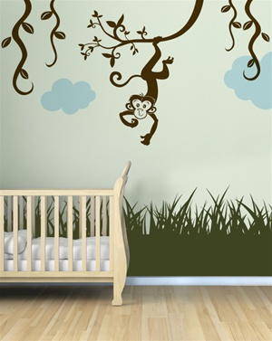 Monkey with Vines wall decal sticker