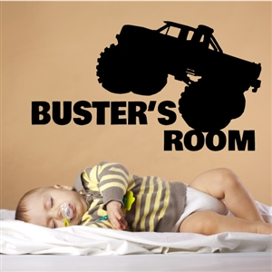 Custom Personalized Name and Truck Wall Decal Sticker - MonsterTruckCust03