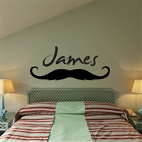 Custom Personalized Name and Mustache Wall Decal Sticker - MustacheCust02