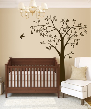 7 Foot Leafy Tree with Bird wall decal sticker