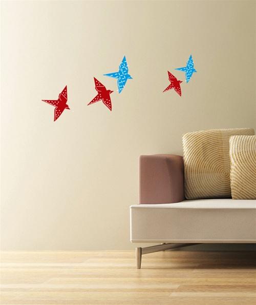 Origami Bird Wall Decals Stickers