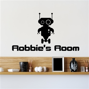 Custom Personalized Name and Robot Wall Decal Sticker - RobotCust01