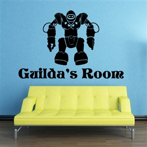 Custom Personalized Name and Robot Wall Decal Sticker - RobotCust02