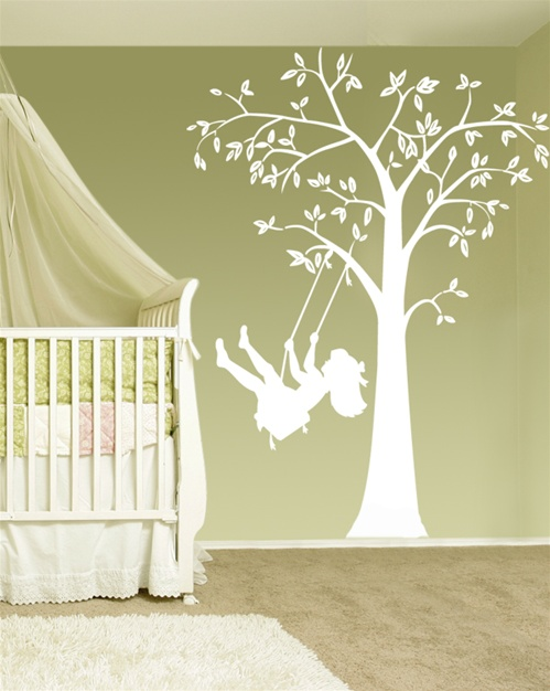 Swinging Child Tree Wall Decal Sticker. View Larger Photo