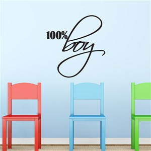 100% boy - Vinyl Wall Decal - Wall Quote - Wall Decor