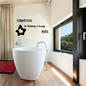 happiness is taking a long bath - Vinyl Wall Decal - Wall Quote - Wall Decor