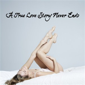 a true love story never ends - Vinyl Wall Decal - Wall Quote - Wall Decor