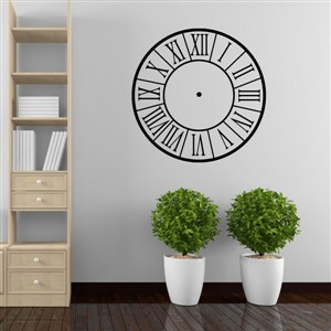 Roman Numeral Clock - Vinyl Wall Decal - Wall Quote - Wall Decor