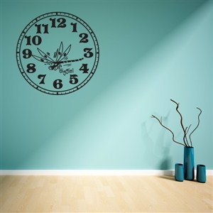 Wall Clock Bug Giggle - Vinyl Wall Decal - Wall Quote - Wall Decor