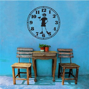 Wall Clock Guy - Vinyl Wall Decal - Wall Quote - Wall Decor