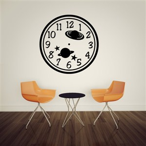 Wall Clock Planets - Vinyl Wall Decal - Wall Quote - Wall Decor