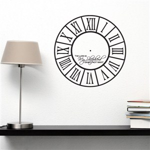 Roman Numeral Wall Clock The Lord Is My Shepherd - Vinyl Wall Decal - Wall Quote - Wall Decor