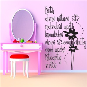 Faith Divine Nature Individual Worth - Vinyl Wall Decal - Wall Quote - Wall Decor