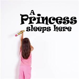 A princess sleeps here - Vinyl Wall Decal - Wall Quote - Wall Decor