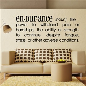 Definition: Endurance noun - the power to withstand pain or hardships - Vinyl Wall Decal - Wall Quote - Wall Decor