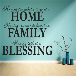 Home Family Blessing - Vinyl Wall Decal - Wall Quote - Wall Decor