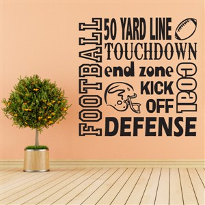 Football touchdown defense goal kick off - Vinyl Wall Decal - Wall Quote - Wall Decor