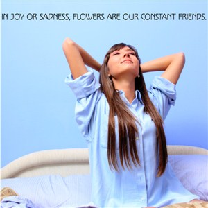 In joy or sadness, flowers are our constant friends. - Vinyl Wall Decal - Wall Quote - Wall Decor