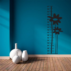 Growth Chart Flowers - Vinyl Wall Decal - Wall Quote - Wall Decor