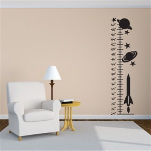 Growth Chart Planets - Vinyl Wall Decal - Wall Quote - Wall Decor