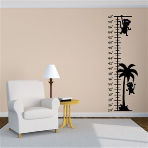Growth Chart Monkeys - Vinyl Wall Decal - Wall Quote - Wall Decor