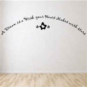 A dream is a wish your heart makes with stars - Vinyl Wall Decal - Wall Quote - Wall Decor