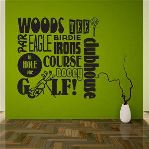 Golf tee irons course woods par hole in one - Vinyl Wall Decal - Wall Quote - Wall Decor