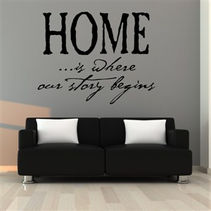 Home is where our story begins - Vinyl Wall Decal - Wall Quote - Wall Decor