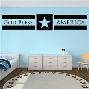 God Bless America - Vinyl Wall Decal - Wall Quote - Wall Decor