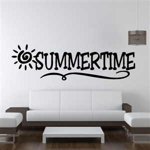 Summertime - Vinyl Wall Decal - Wall Quote - Wall Decor