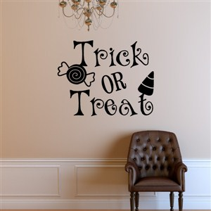 Trick or treat - Vinyl Wall Decal - Wall Quote - Wall Decor