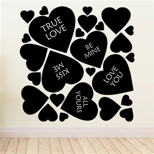 Valentines hearts - Vinyl Wall Decal - Wall Quote - Wall Decor