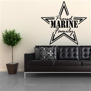 Proud Marine Family - Vinyl Wall Decal - Wall Quote - Wall Decor