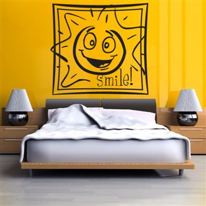 Smile Sun - Vinyl Wall Decal - Wall Quote - Wall Decor