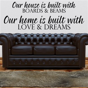Our house is built with boards & beams Our home is built with love & dreams - Vinyl Wall Decal - Wall Quote - Wall Decor