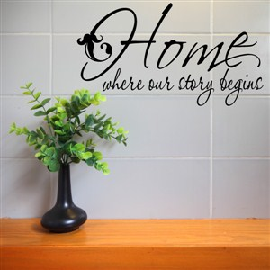 Home where our story begins - Vinyl Wall Decal - Wall Quote - Wall Decor